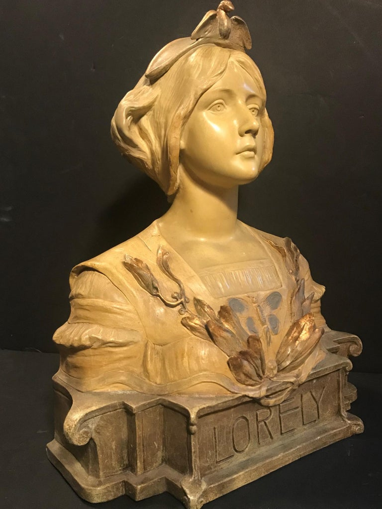 Austrian Goldscheider Terracotta Bust of Lorely, circa 1900 In Good Condition For Sale In Poughkeepsie, NY