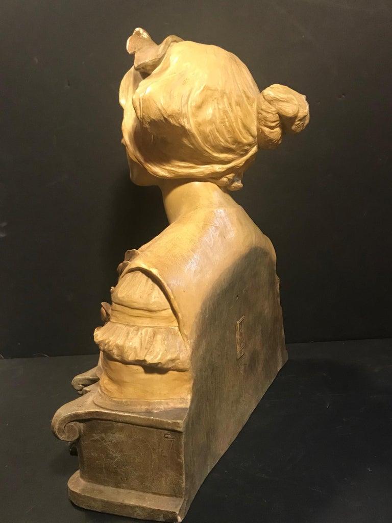 Austrian Goldscheider Terracotta Bust of Lorely, circa 1900 For Sale 1