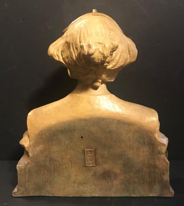 Austrian Goldscheider Terracotta Bust of Lorely, circa 1900 For Sale 2