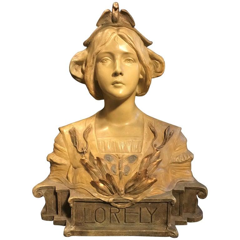 Austrian Goldscheider Terracotta Bust of Lorely, circa 1900 For Sale