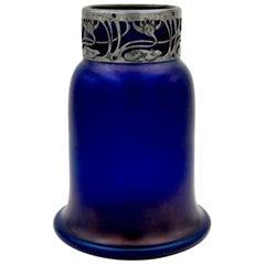 Austrian Iridescent Blue Art Glass Vase with an Art Nouveau Silver Metal Collar