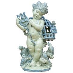 Austrian Jugendstil Ceramic Sculpture Putto Michael Powolny Blue, circa 1917