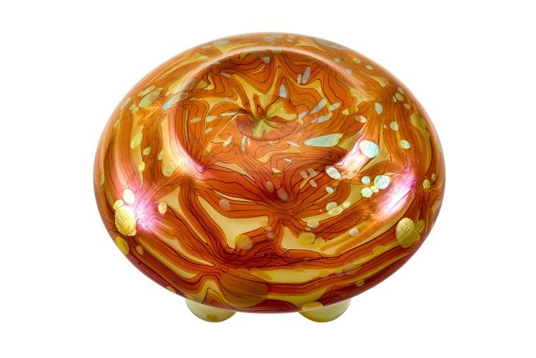 Early 20th Century Austrian Jugendstil Floral Glass Bowl Loetz Red Gold circa 1902 For Sale