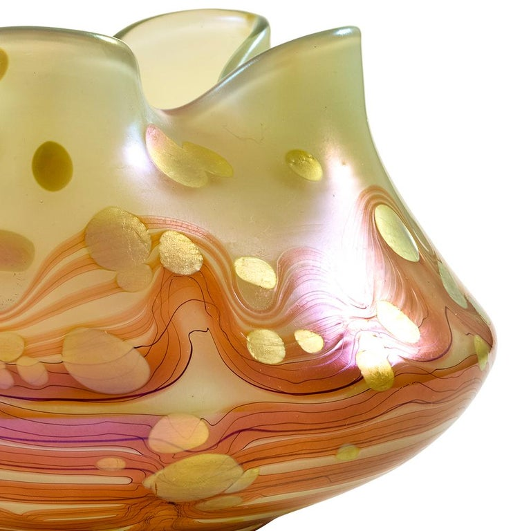 Austrian Jugendstil Floral Glass Bowl Loetz Red Gold circa 1902 For Sale 1