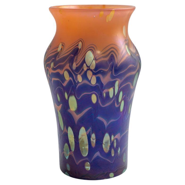 Austrian Jugendstil Glass Vase Loetz Blue Orange Gold circa 1901