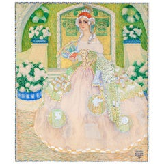 Austrian Jugendstil Gouache and Gold on Cardboard Painting Lady in a Gown 1909