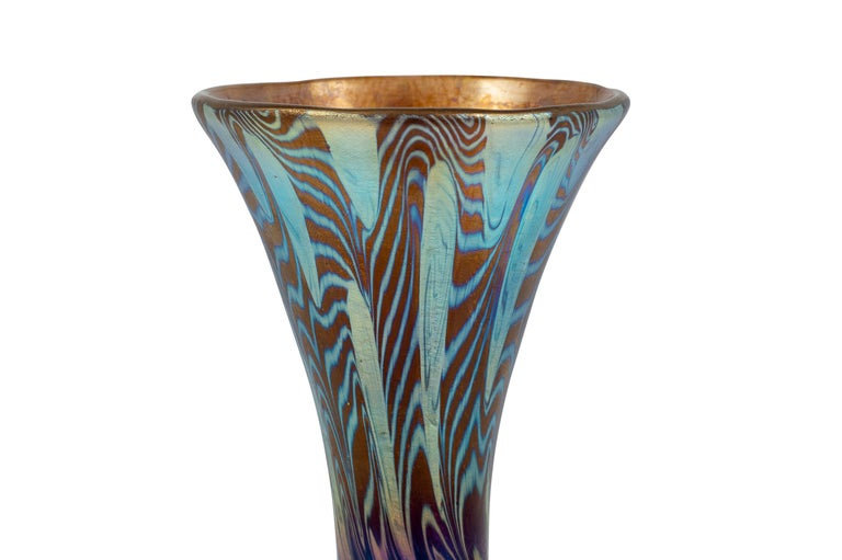 Art Nouveau Austrian Jugendstil Loetz Mouth-blown Glass Vase Dekor Argus, circa 1902 For Sale