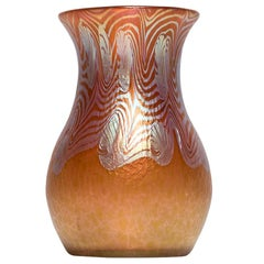 Austrian Jugendstil Loetz Vase Mouth-Blown Glass Red Phen. Gre. 3/430 circa 1903