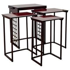 Austrian Jugendstil Nesting Tables with Grid Josef Hoffmann 1905 Beechwood