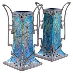 Austrian Jugendstil Pair of Glass Vases Blue with Tin Mounting circa 1902 Loetz