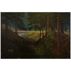 "Austrian Landscape Painting Kahrer ""Waldbach am Gsollgraben"" Oil on Wood, 1935"