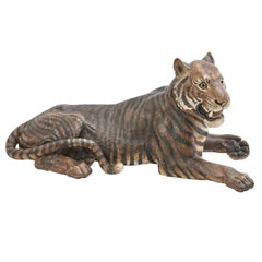 Austrian Large Cold Painted Terracotta Model of a Tiger, Late 19th Century