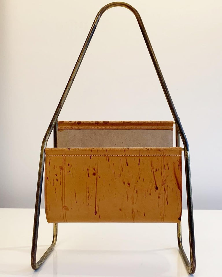 Mid-Century Modern Austrian Leather and Brass Magazine Rack by Carl Auböck, 1950s For Sale
