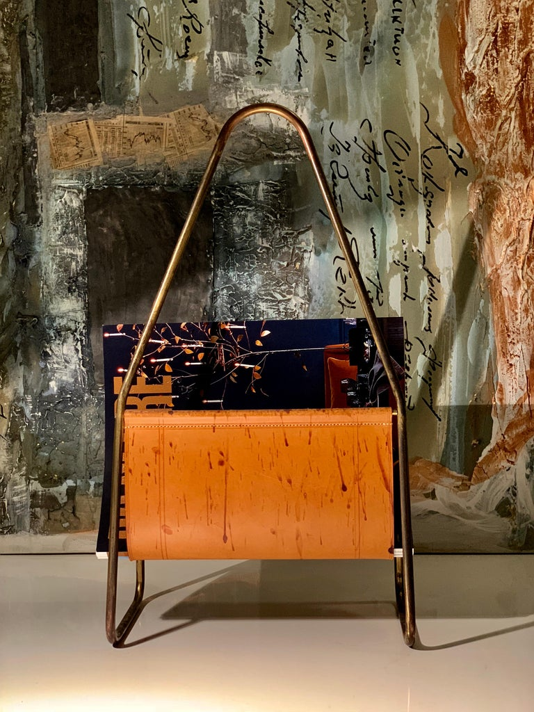 20th Century Austrian Leather and Brass Magazine Rack by Carl Auböck, 1950s For Sale