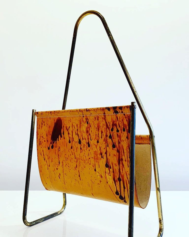 Austrian Leather and Brass Magazine Rack by Carl Auböck, 1950s For Sale 1