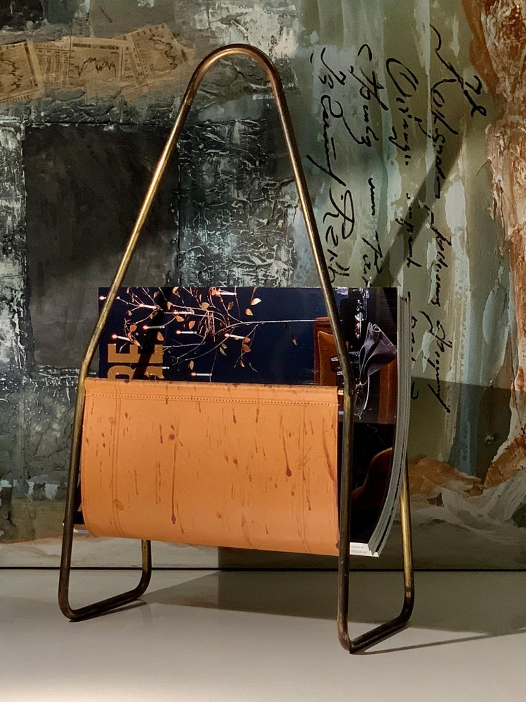 Austrian Leather and Brass Magazine Rack by Carl Auböck, 1950s For Sale 2
