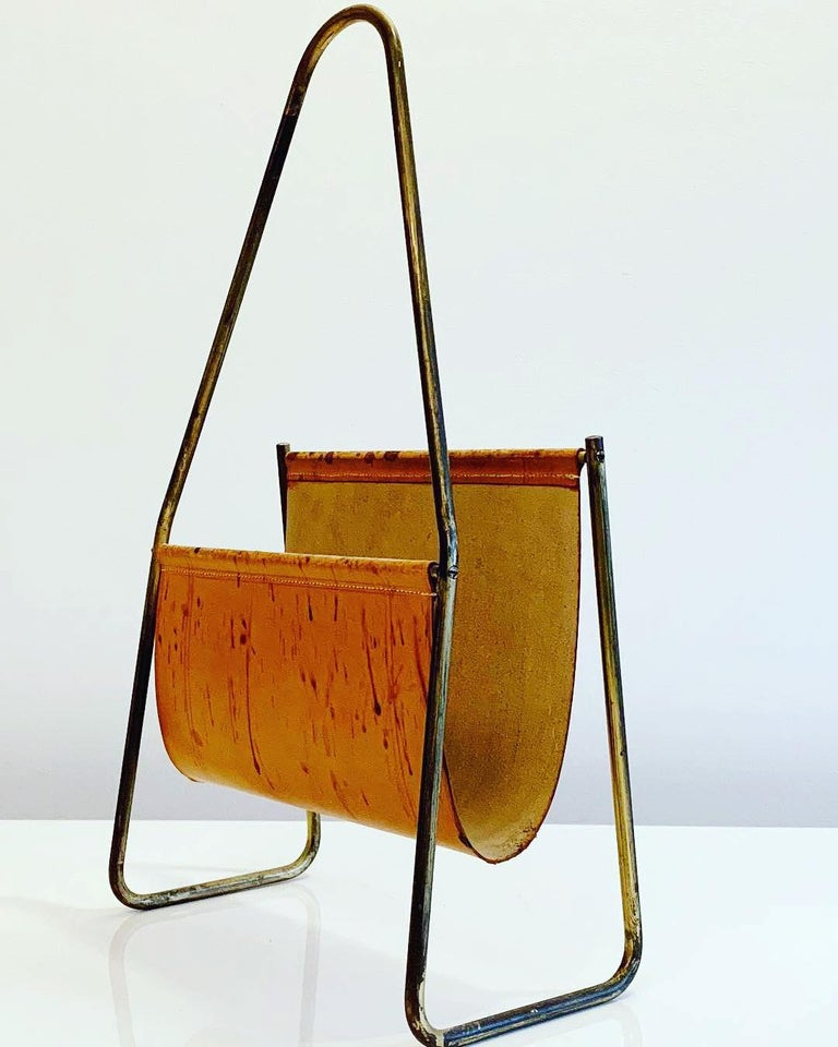 Austrian Leather and Brass Magazine Rack by Carl Auböck, 1950s For Sale 3