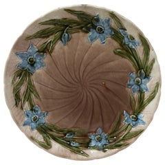 Austrian Majolica Flower Plate, circa 1900