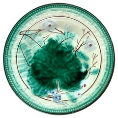 Austrian Majolica Leaves and Flowers Plate, circa 1890