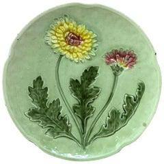 Austrian Majolica Plate Dandelion, circa 1890