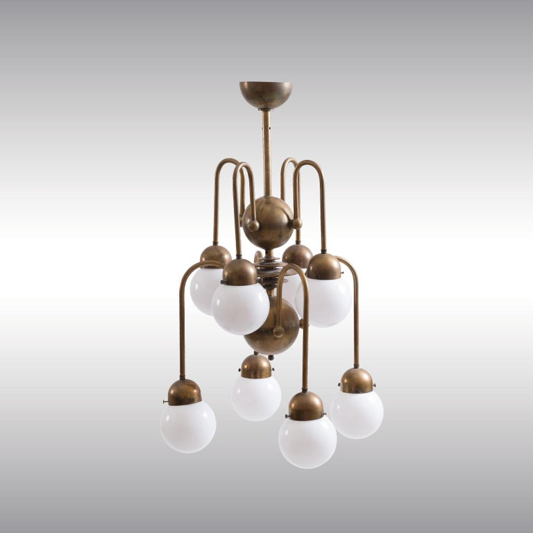 Austrian Mastercraft Art Deco Machine Age Handcrafted Brass Chandelier Re-Edit In New Condition For Sale In Vienna, AT