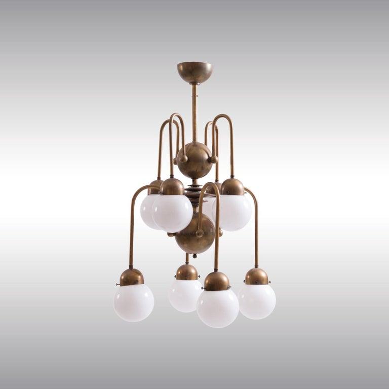 Contemporary Austrian Mastercraft Art Deco Machine Age Handcrafted Brass Chandelier Re-Edit For Sale