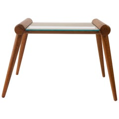 Austrian Midcentury Small Table in Wood with Glass Plate from Max Kment, 1950