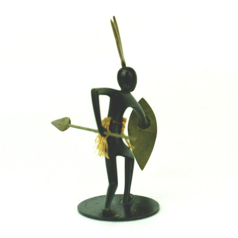 Mid-Century Modern Austrian Midcentury African Warrior Bronze and Brass Sculpture by Hagenauer For Sale