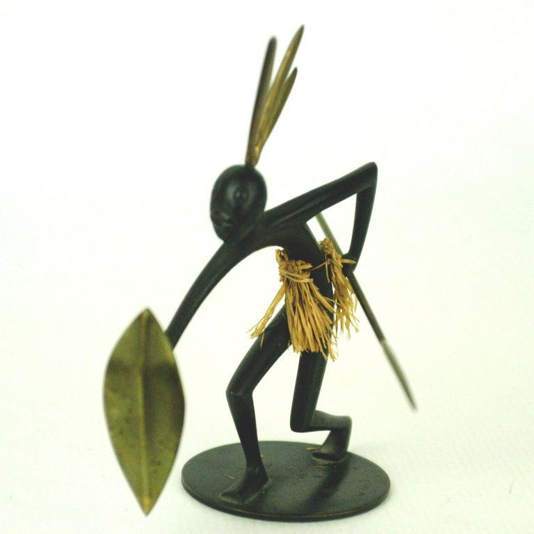 Mid-20th Century Austrian Midcentury African Warrior Bronze and Brass Sculpture by Hagenauer For Sale