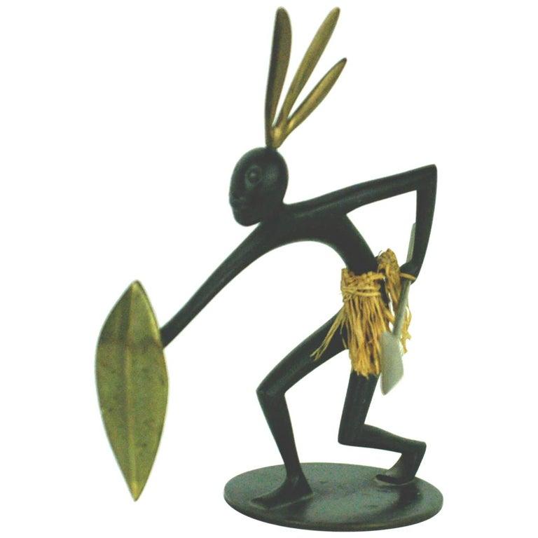 Austrian Midcentury African Warrior Bronze and Brass Sculpture by Hagenauer For Sale