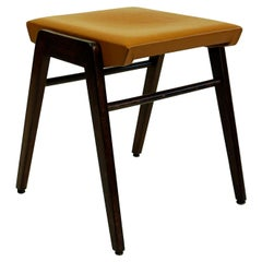 Austrian Midcentury Beech and Cognac Brown Leather Stool by Franz Schuster