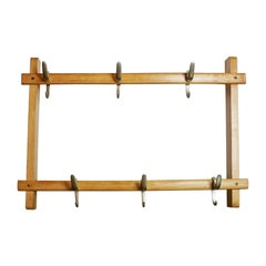 Austrian Midcentury Beech Wall Coat Rack by Carl Auböck