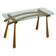 Austrian Midcentury Beechwood Side Table with Cord and Glass Top by Max Kment