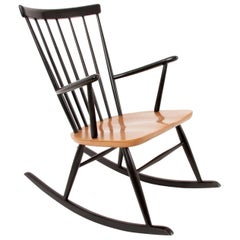 Austrian Midcentury Bicolored Rocking Chair by Roland Rainer, Thonet, 1950s