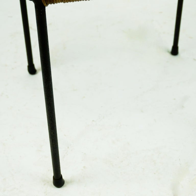 Austrian Midcentury Black Steel and Wicker Side Table or Stool by Carl Auböck For Sale 3