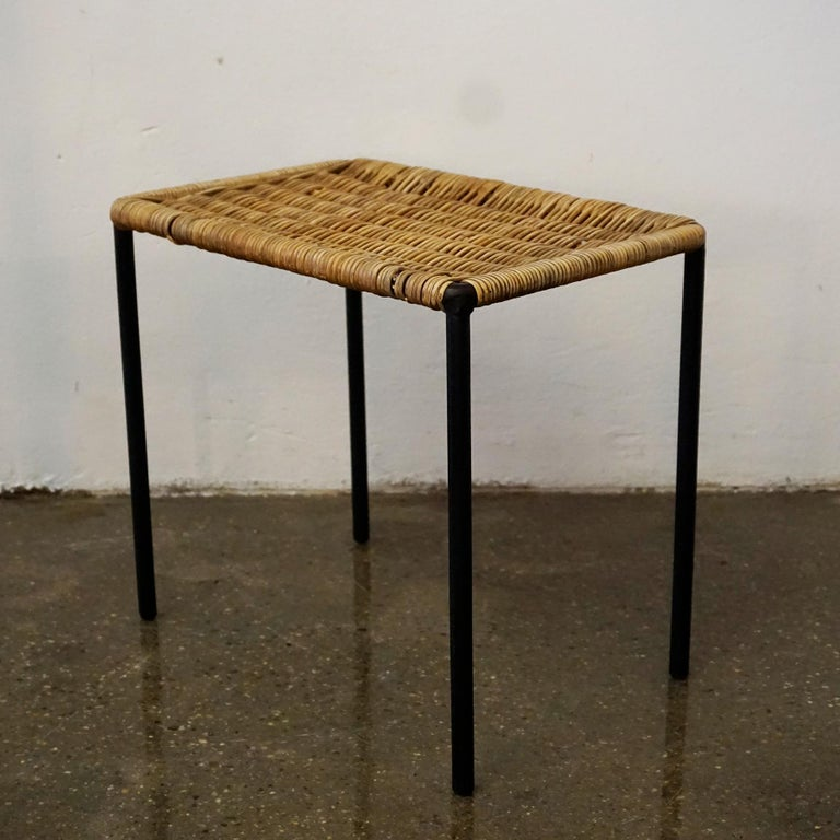 Mid-Century Modern Austrian Midcentury Black Steel and Wicker Side Table or Stool by Carl Auböck For Sale