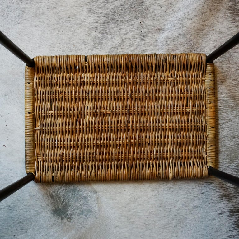 Blackened Austrian Midcentury Black Steel and Wicker Side Table or Stool by Carl Auböck For Sale
