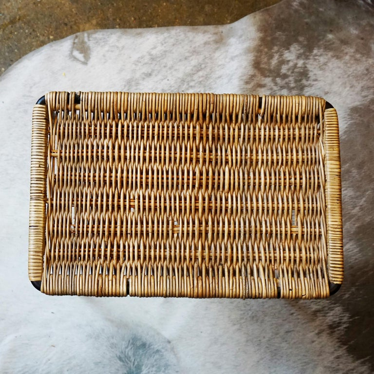 Austrian Midcentury Black Steel and Wicker Side Table or Stool by Carl Auböck In Good Condition For Sale In Vienna, AT