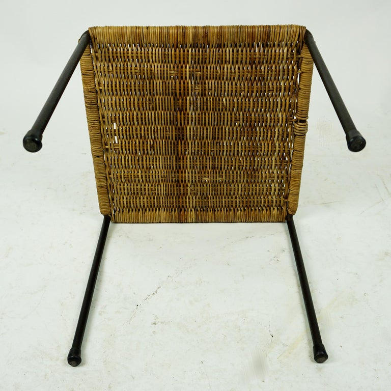 Mid-20th Century Austrian Midcentury Black Steel and Wicker Side Table or Stool by Carl Auböck For Sale
