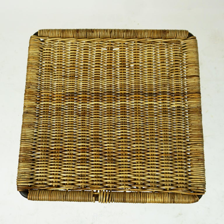 Rubber Austrian Midcentury Black Steel and Wicker Side Table or Stool by Carl Auböck For Sale