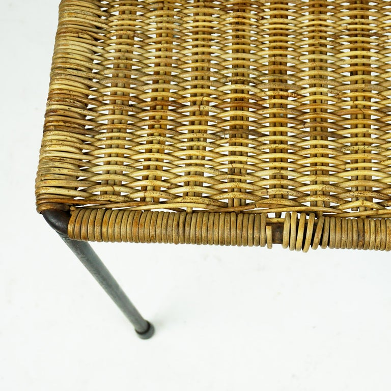 Austrian Midcentury Black Steel and Wicker Side Table or Stool by Carl Auböck For Sale 1