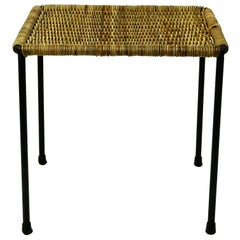 Austrian Midcentury Black Steel and Wicker Side Table or Stool by Carl Auböck