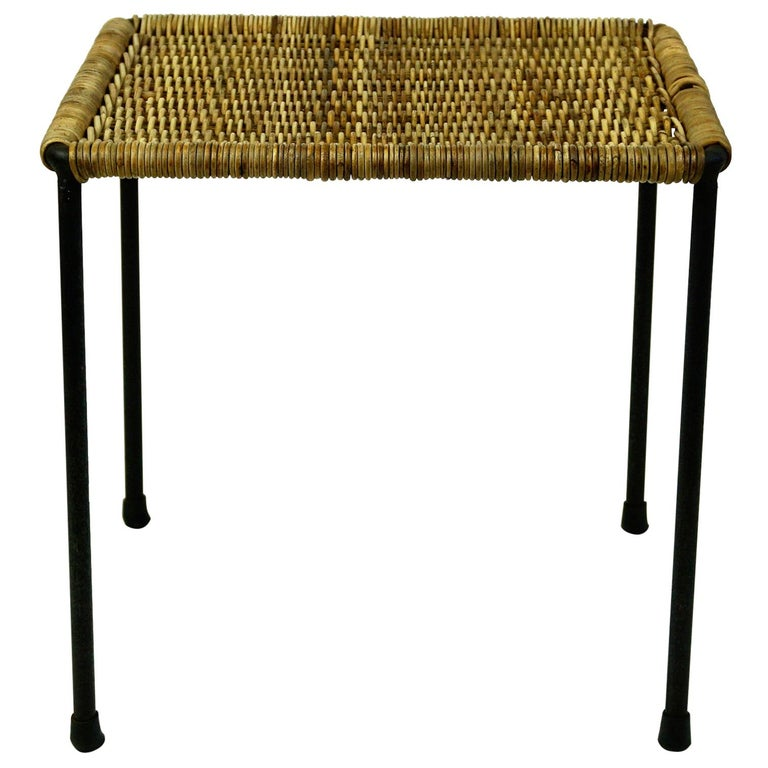 Austrian Midcentury Black Steel and Wicker Side Table or Stool by Carl Auböck For Sale
