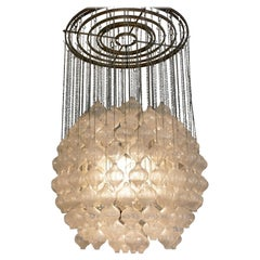 Austrian Midcentury Blown Glass Tulipan Chandelier by J.T. Kalmar