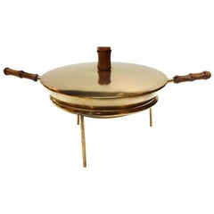 Austrian Midcentury Brass and Bamboo Fondue Set by Carl Auböck