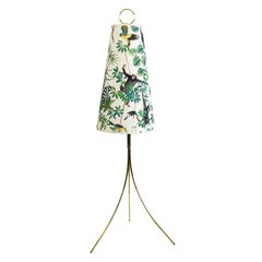 Austrian Midcentury Brass Tripod Floor Lamp with Floral and Animal Decor Shade