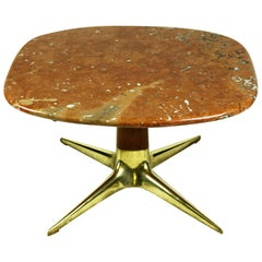 Austrian Midcentury Brass, Walnut and Marble Coffee Table by Oswald Haerdtl