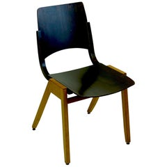 Austrian Midcentury Dark Brown P7 Beechwood Stacking Chair by Roland Rainer