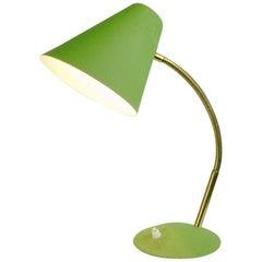 Austrian Midcentury Green Lacquered Adjustable Brass Desk Lamp