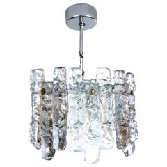 "Austrian Midcentury Ice-Glass Blocks Chandelier by Kalmar, Model ""Sierra"", 1970s"